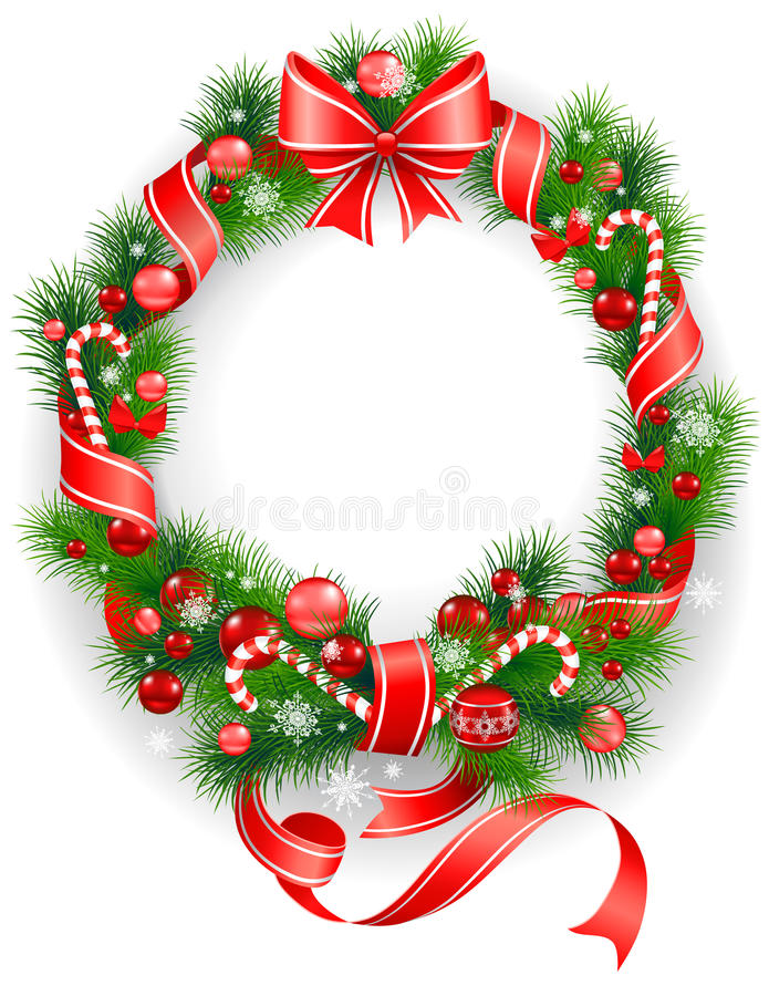Download Wreath with  spruce  tree stock vector. Image of element - 25290217