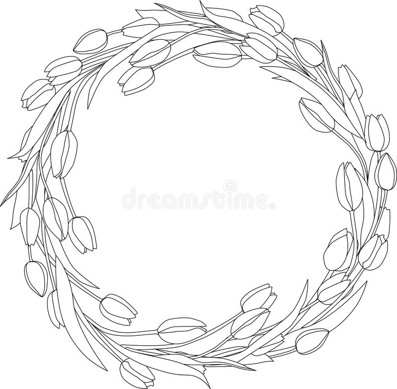 Wreath of tulips spring coloring page royalty free illustration