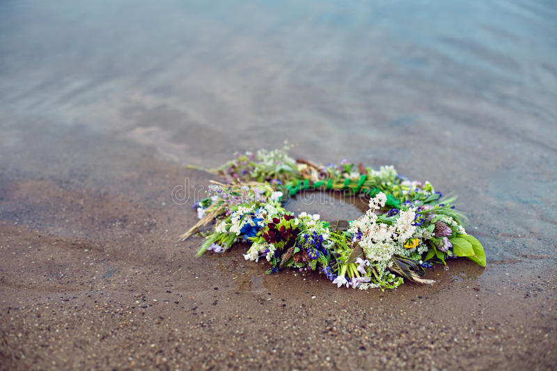 Wreath on water at tradition Kupala night stock photography