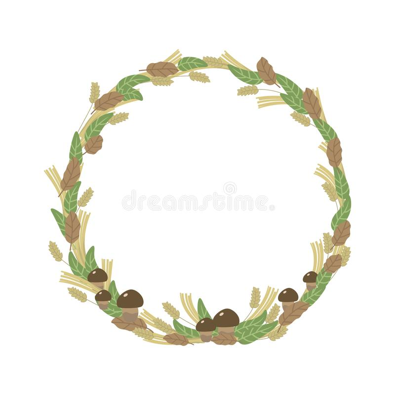 Wreath weave autumn leaves green brown and ears of mushrooms round nature Forest isolated on white background vector illustration. stock illustration