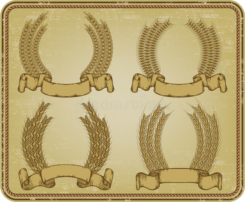 Wreath of wheat, set. Vector illustration.
