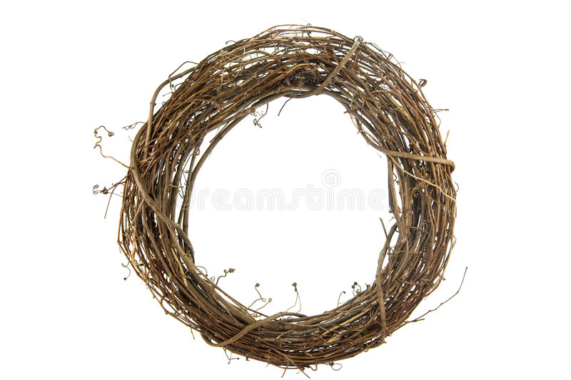 Wreath on White. Wreath of sticks and vines isolated on white royalty free stock photos
