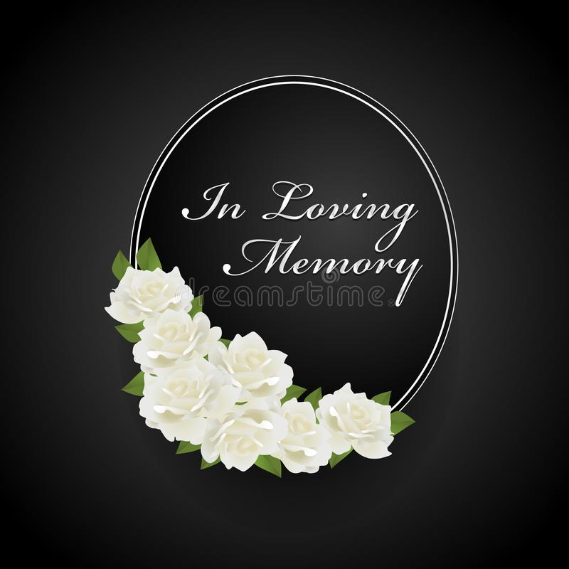 Wreath with white rose on Oval frame and in loving memory text vector design stock illustration