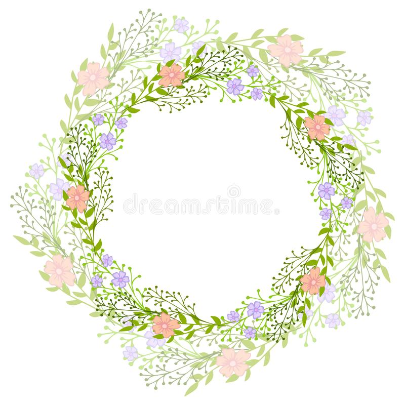Wreath of wild flowers with leaves. A floral round frame with a place for your text. Suitable for greeting cards, wedding invitati stock illustration