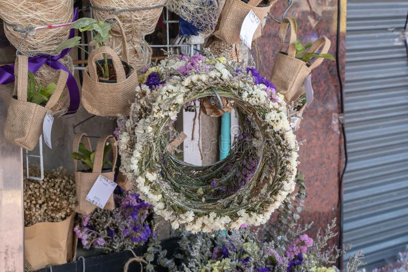 Wreath of wild flowers sale in the flower market in Bangkok ,Thailand. stock images