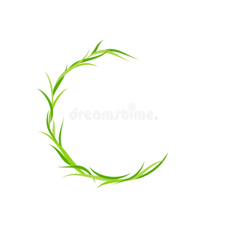 Free Wreath With Green Grass And Herbs. Floral Garland Good For Eco Card, Organic Products Royalty Free Stock Photos - 210554368