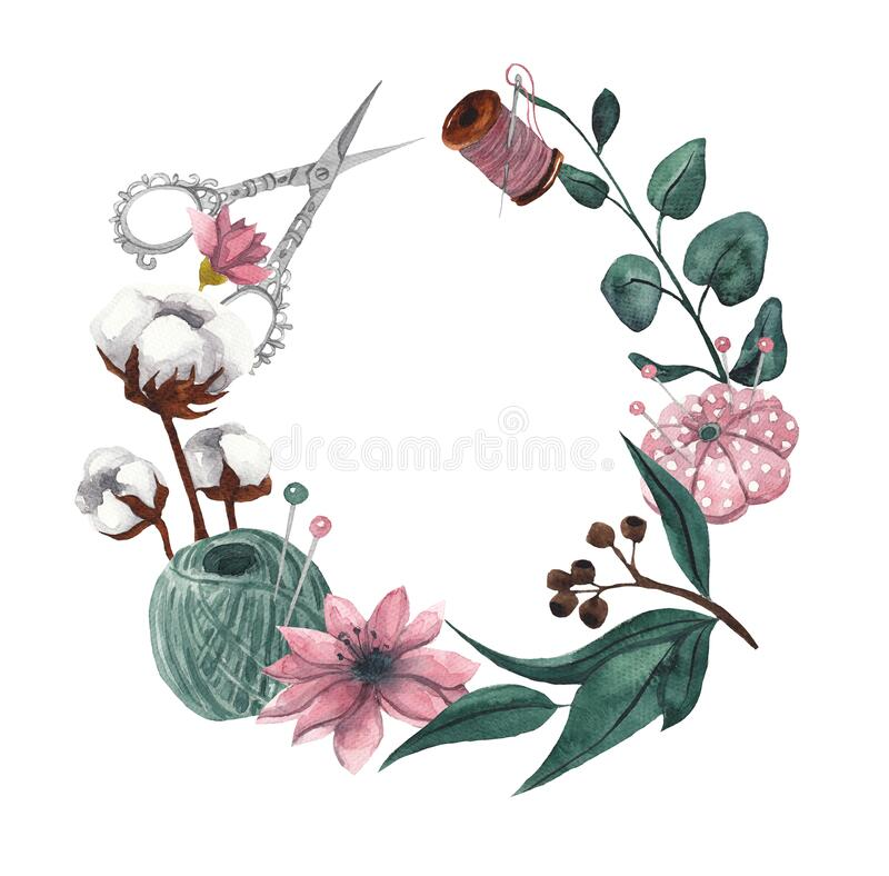 Free Wreath With Sewing Items And Floral Elements. Watercolor Illustration On White Isolated Background. Floral Frame For Text Royalty Free Stock Photos - 173422198