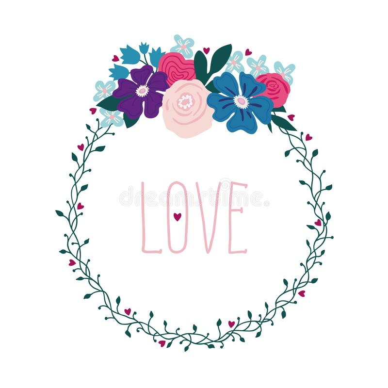 Wreath from a vine and flowers, floral illustration with the inscription love. Lettering LOVE vector illustration
