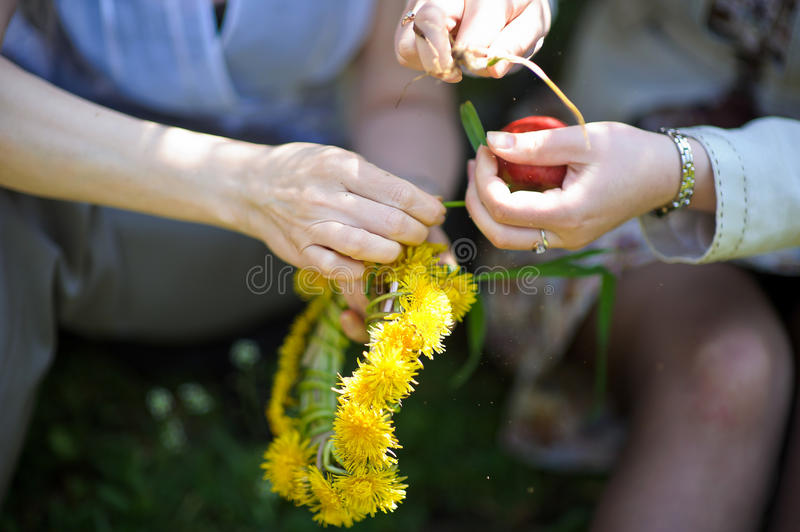 wreath of yellow dandelions in hands royalty free stock images
