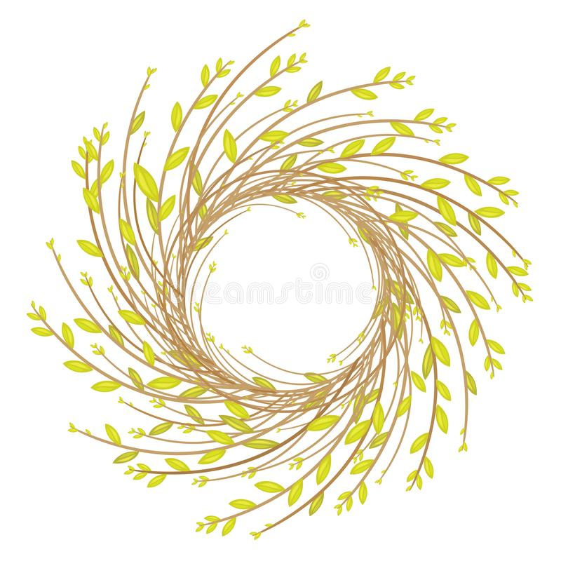 Wreath from young willow branches. The composition will decorate the house. Symbol of Easter and spring. Vector illustration vector illustration