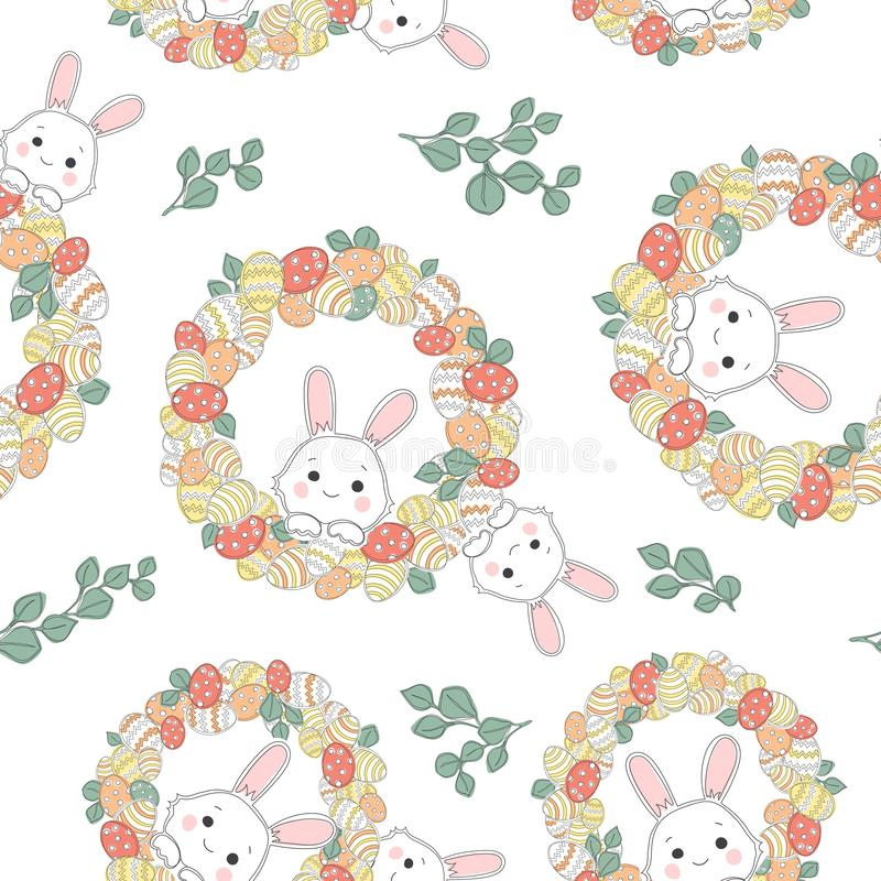 Seamless pattern with decorated eggs and beautiful Easter wreath royalty free illustration