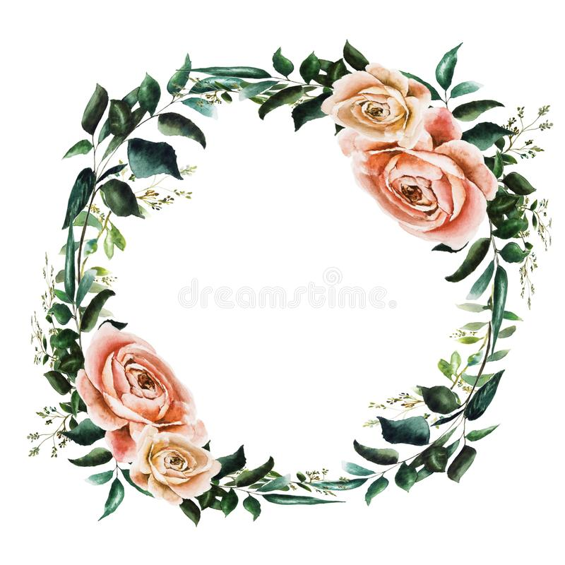 Wreathe with roses vector illustration