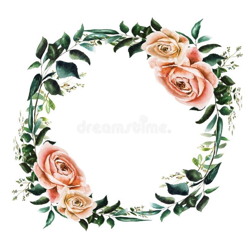 Wreathe z różami ilustracja wektor