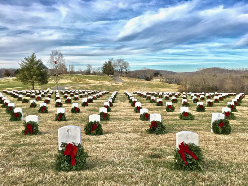Wreaths Across America — honoring our soldiers and vets royalty free stock photos