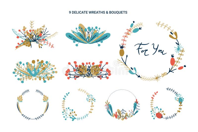 Wreaths and bouquets floral collection. royalty free illustration