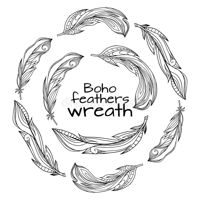 Wreaths of hand drawn feathers with boho pattern stock illustration
