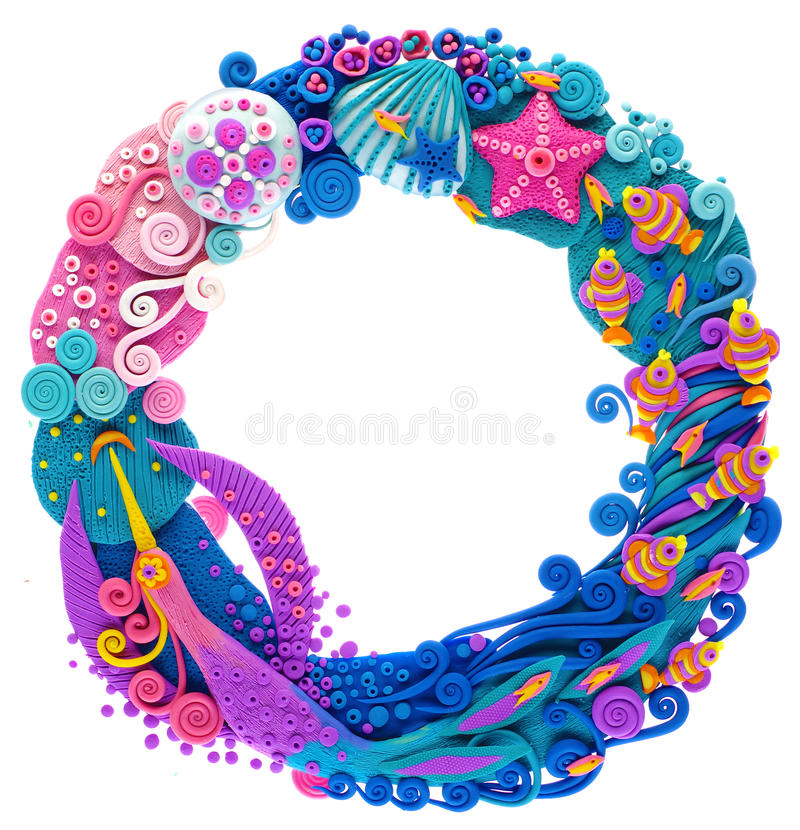 Wreaths round, plasticine in the ocean royalty free stock photography
