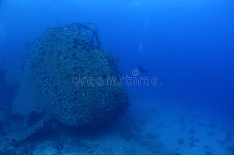 Wreck of the Chrisoula K in the Red Sea, Egypt. The Wreck of the Chrisoula K is located at a dive spot called Abu Nuhas royalty free stock images