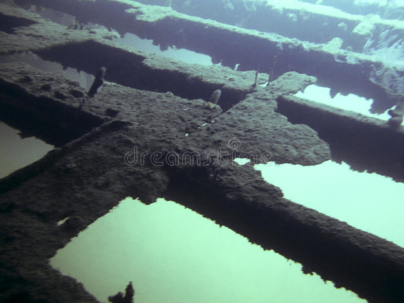 Wreck Diving - Underwater. Underwater - structure of a wreck royalty free stock images
