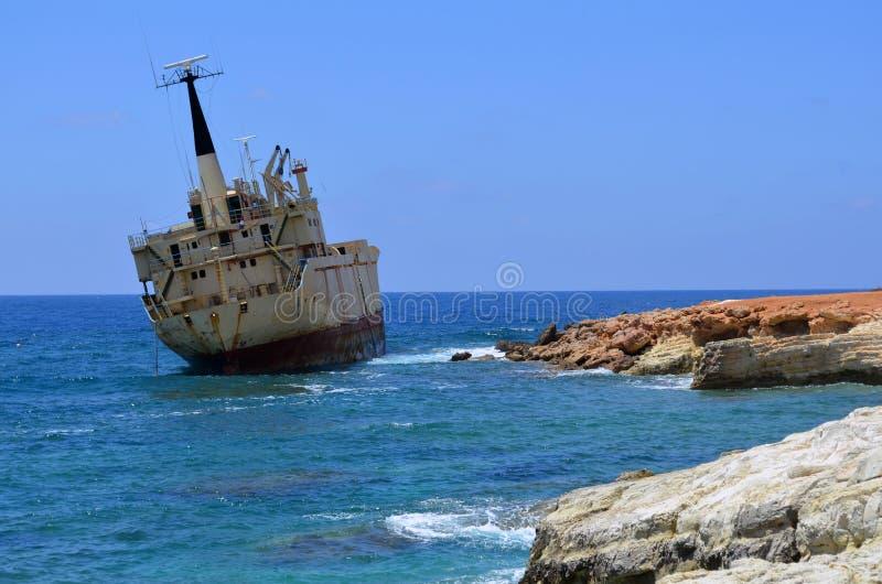Wreck of the Edro III, Sea Caves, Paphos, Cyprus stock image