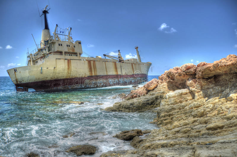 Wreck of the Edro III, Sea Caves, Paphos, Cyprus. The Edro III ran aground in stormy weather in the Sea Caves area of Paphos between Coral Bay and St. George stock photo