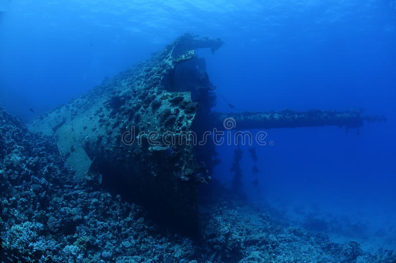 Wreck of the Ghiannis D in the Red Sea, Egypt. The Wreck of the Ghiannis D is located at a dive spot called Abu Nuhas stock image