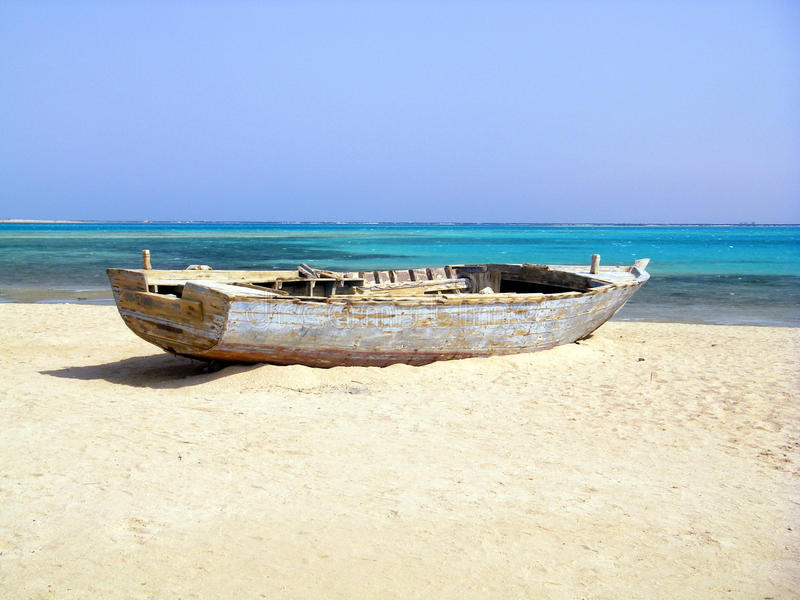 Wreck Of Old Fishing Boat On Deserted Beach Stock Photo ...