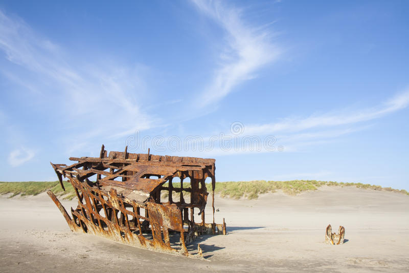 Wreck of the Peter Iredale. At Fort Stevens National Park royalty free stock image