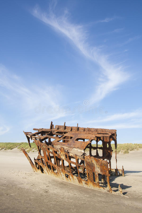 Wreck of the Peter Iredale. At Fort Stevens National Park Oregon royalty free stock image