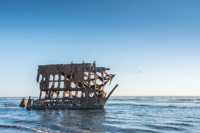 Wreck of Peter Iredale. In late afternoon light stock photos