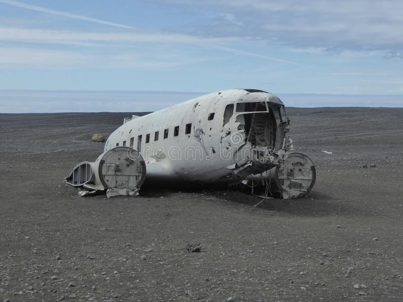 Wreck of us plane Iceland royalty free stock image