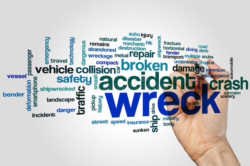 Wreck word cloud. Concept on grey background royalty free stock images