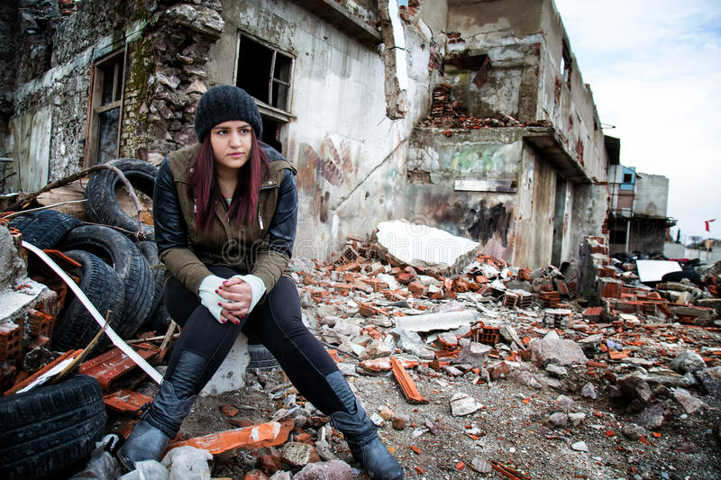 Wreckage Deconstruction Area and Young Woman royalty free stock photos