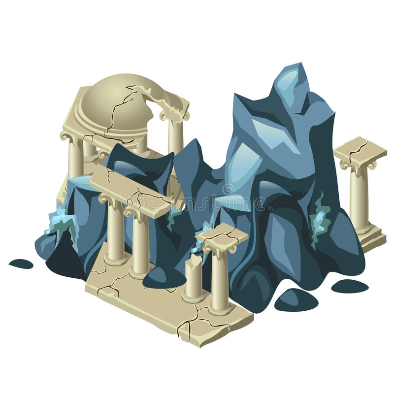 Wreckage of the Greek structure and rock formation stock illustration