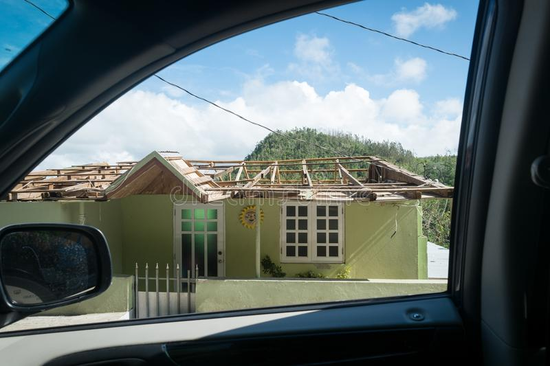 The wreckage of Hurricane Maria. A view of the damage made by Hurricane Maria to house in Orocovis, Puerto Rico royalty free stock photos