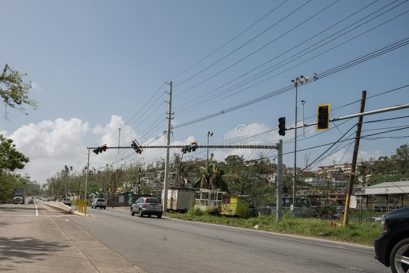 The wreckage of Hurricane Maria. A view of the damage to the power grid by Hurricane Maria, near Vega Baja, in Puerto Rico stock photography