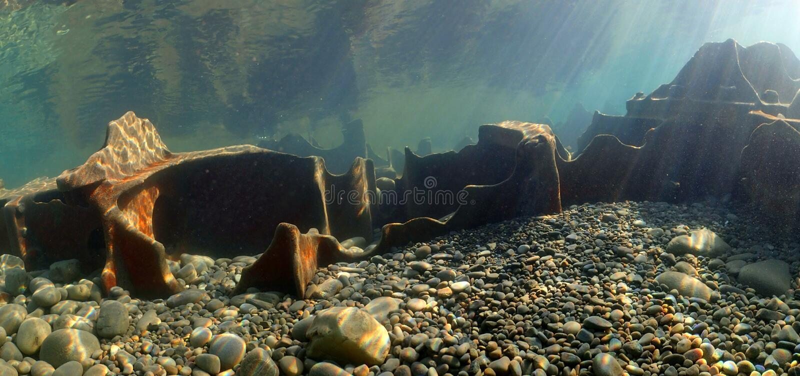 On the wreckage of the sunken ship `Kolasin`, Sochi, Russia, the Black Sea. stock photography