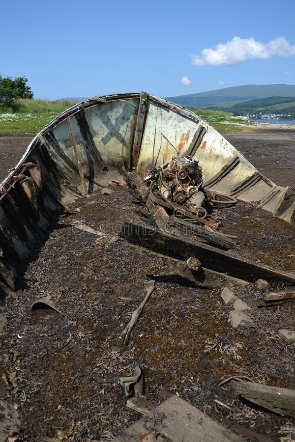 Wrecked boat. In Fort William, Scotland, United Kingdom stock photography