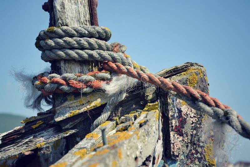 Wrecked boat. In Fort William, Scotland, United Kingdom stock image