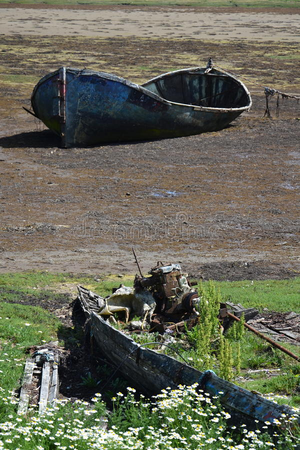 Wrecked boat. In Fort William, Scotland, United Kingdom stock photos