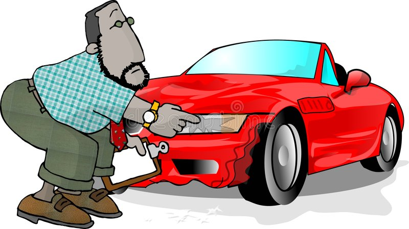 Wrecked car. This illustration that I created depicts a man checking a damaged car stock illustration