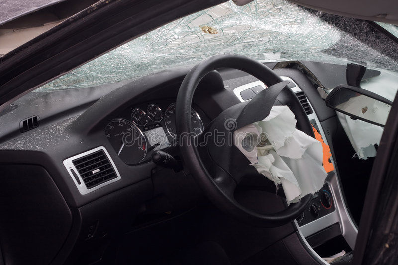 Wrecked Car With Airbag Royalty Free Stock Photography