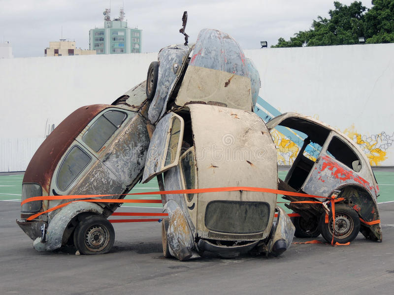 Wrecked Cars sculptue at volvo ocean race Itajaí Sc Brazil royalty free stock photography