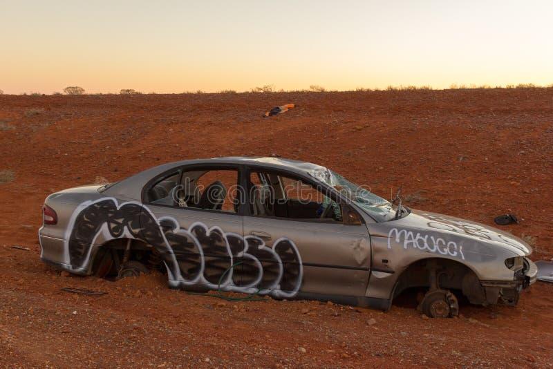 Wrecked ha abbandonato l'automobile, Nuovo Galles del Sud di entroterra, Australia immagine stock