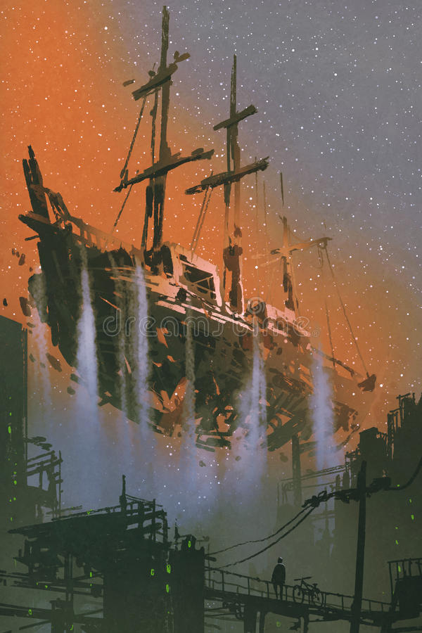 The wrecked pirate ship with waterfalls floating in the sky royalty free illustration
