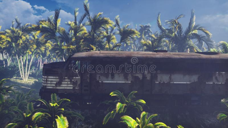Wrecked train lies in the jungle in the middle of palm trees and tropical vegetation. 3D Rendering. Wrecked train lies in the jungle in the middle of palm trees vector illustration