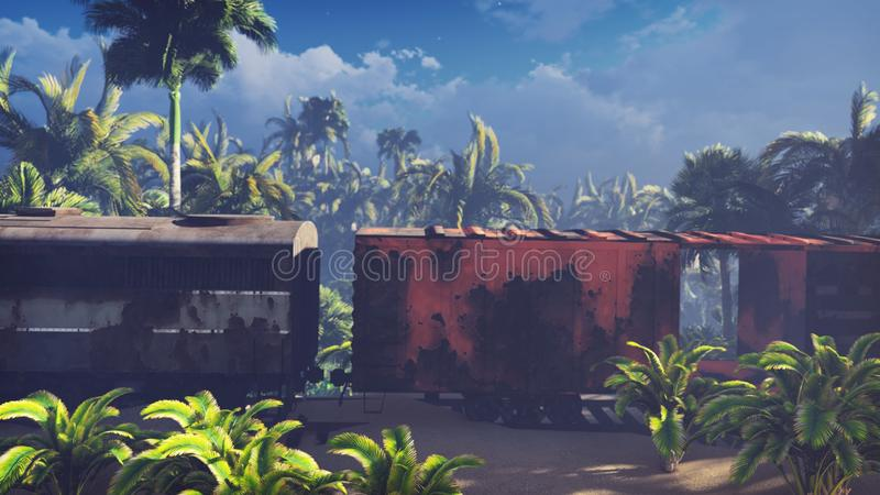 Wrecked train lies in the jungle in the middle of palm trees and tropical vegetation. 3D Rendering. Wrecked train lies in the jungle in the middle of palm trees royalty free illustration