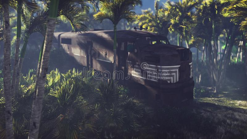 Wrecked train lies in the jungle in the middle of palm trees and tropical vegetation. 3D Rendering. Wrecked train lies in the jungle in the middle of palm trees stock illustration