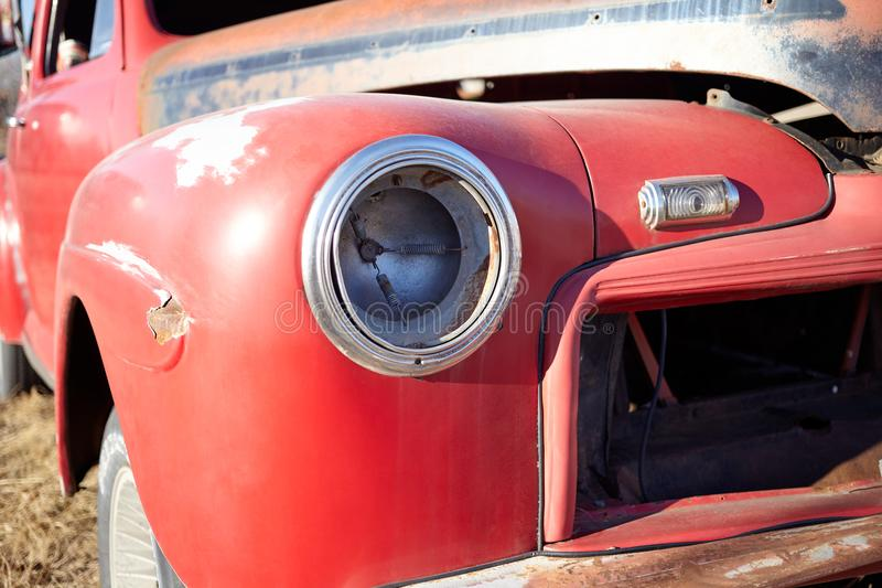 Wrecked vintage pickup truck or car royalty free stock photo