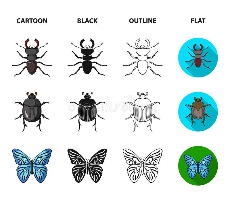 Wrecker, darmozjad, natura, motyl Insekt ustawiać inkasowe ikony w kreskówce, czerń, kontur, mieszkanie stylowy wektorowy symbol royalty ilustracja